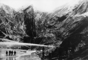 Gold mine in St Bathans, Otago, with hydraulic elevation pipes