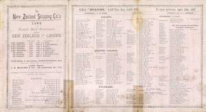 """New Zealand Shipping Company Limited :New Zealand Line. List of passengers. [R.M.S. """"Ruahine"""". Inside spread]. 1897."""