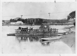 Redstone's coach on the punt over the Uawa River, Tolaga Bay, Gisborne region