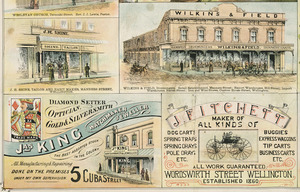 F W Niven & Co. :J H Shine, tailor; Wilkins & Field, ironmonger; Jas King, Watchmaker; J Fitchett, cartmaker [ca 1895]