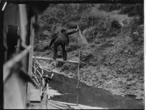 Mail delivery from a boat, Whanganui River