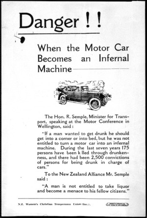 New Zealand Womens Christian Temperance Union (Inc.) :Danger!! When the motor car becomes an infernal machine. Wright and Carman, Ltd [printers. 1937].