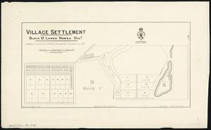 Village settlement. Block 12 Lower Hawea Dist. [cartographic material] : including original Sec. 13, Block V ; surveyed by J. Campbell, June 1883 / W. Percival, Delt. 11.7.84 ; W. Arthur, Chief surveyor.