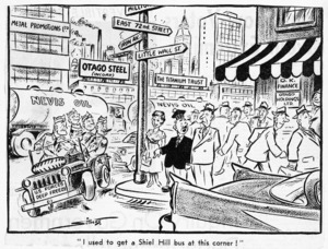 """Scales, Sydney Ernest, 1916-2003 :""""I used to get a Shiel Hill bus at this corner!"""" Otago Daily Times, 7 November, 1958"""