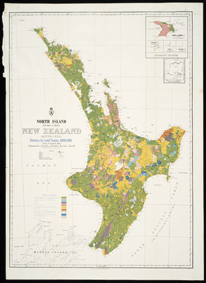 North Island (Te Ika-a-Maui) New Zealand (Aotea-roa) [cartographic material] : showing the land tenure, 1909-1910.