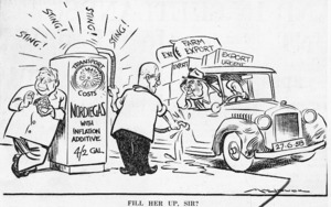 "Minhinnick, Gordon (Sir), 1902-1992 :""Fill her up, Sir?"" N.Z. Herald, 28 June, 1958"