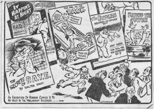 Lonsdale, Neil, 1907-1989:'It happens at night'. 'An exhibition of horror comics is to be held in the parliament buildings...News'. Auckland Star, 20 July, 1957