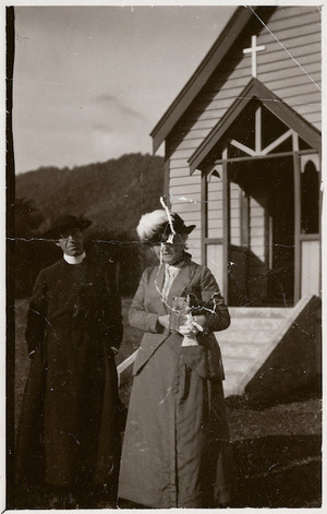 Reverend James Edwin Jones and Mrs H R Elder, Waikanae, New Zealand