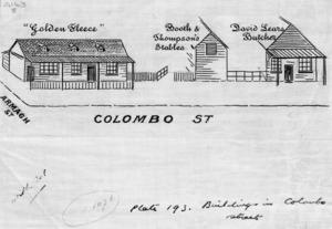 Artist unknown :Buildings in Colombo Street. [1949]