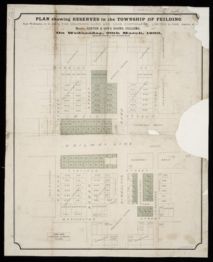 Plan showing reserves in the township of Feilding ... to be sold by the Colonists' Land and Loan Corporation, Limited [cartographic material] / Frank Owen, surveyor.