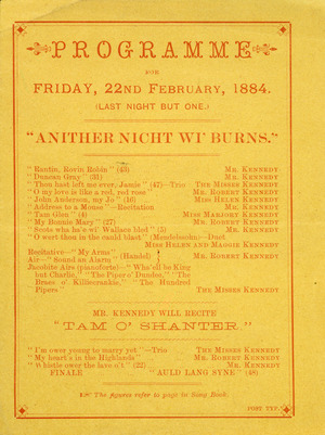 """Kennedy Family :Programme for Friday, 22nd February 1884 (Last night but one). Anither nicht wi' Burns""""."""