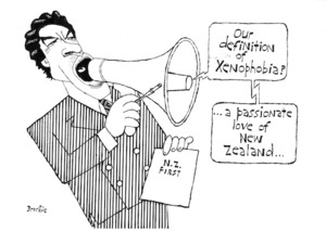 """Brockie, Bob 1932- :""""Our definition of xenophobia?"""" National Business Review 15 March 1996."""