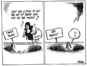 "Hubbard, James, 1949- :""Govt has a plan to get you out of there and into the job market!"" 4 July 2011"