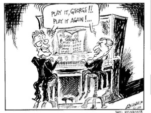 Greenall, Frank, 1948- :Play it George!!. Play it again!... Drawn for the Weekday News, [ca 7 February, 2003].