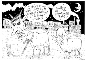 """""""I don't know why they call New Zealand a 'Nanny' state!?"""" """"Follow us... We know best! Baa!"""" 9 May, 2008"""