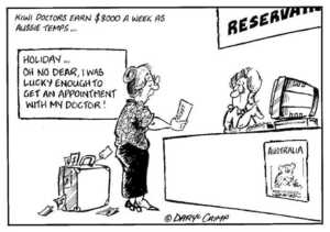 Crimp, Daryl, 1958- :Kiwi doctors earn $8000 a week as Aussie temps... 'Holiday...Oh no dear, I was lucky enough to get an appointment with my doctor!' RESERVA(TIONS). AUSTRALIA. $$$. Ticket. 2 July, 2002.