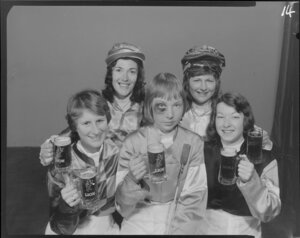 Woman Jockeys drinking Lion beer