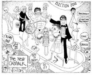 Brockie, Robert Ellison 1932- :The new catwalk. Election 2002. National Business Review. 13 June, 2002.