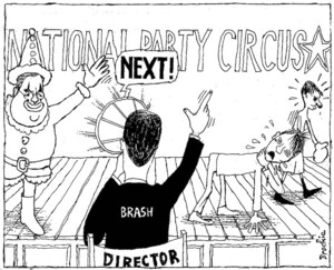 Brockie, Robert Ellison, 1932- :National Party Circus. National Business Review, 21 November, 2003.