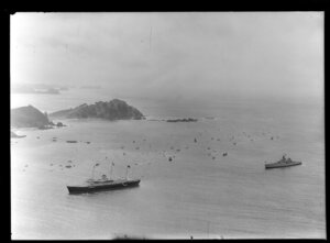 Royal Yacht Britannia, with escort, Bay of Islands