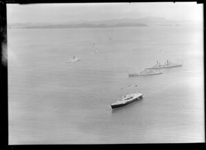 Royal Yacht Britannia with destroyer escort at Bay of Islands