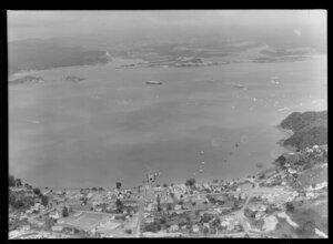 Paihia, with Royal Yacht Britannia abd various warships, Bay of Islands
