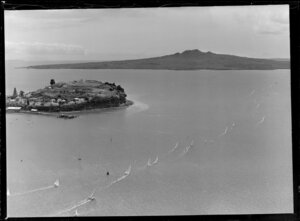 Waitemata Harbour, with a flotilla of yachts, as the 'Royal Regatta', with North Head and Rangitoto