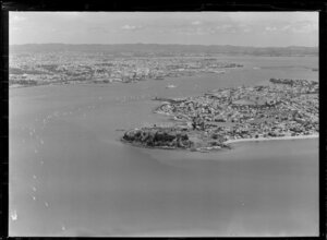 Waitemata Harbour, with a flotilla of yachts, as the 'Royal Regatta'