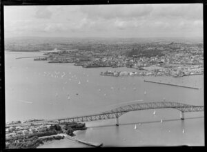 Auckland city wharves and harbour bridge