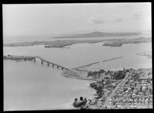 Auckland Harbour Bridge looking towards North Shore, with Rangitoto