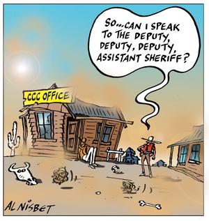 """Nisbet, Alistair, 1958- :""""So ... can I speak to the deputy, deputy, deputy, assistant sheriff?"""" 13 July 2011"""