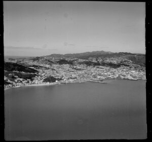 Wellington Harbour with view of Oriental Bay and wharves