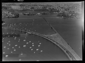 Orakei, with Whakatakataka Bay, Hobson Bay and sewer pipe line, Auckland