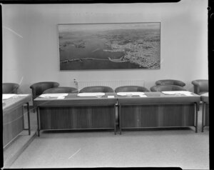 Mural of Auckland city and harbour, inside Auckland Education Board meeting room