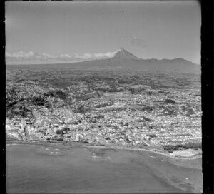 New Plymouth and Mt Taranaki from the Tasman Sea