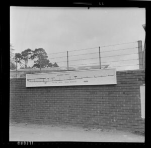 Sign showing progress of construction, Newmarket Viaduct, Auckland