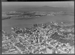 Auckland City and Wharf, looking towards Northshore