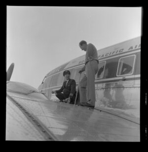 Checking the wing, Taupo Aerodrome test, South Pacific Airlines of New Zealand (SPANZ)