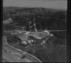 Haywards Hill, Lower Hutt, showing houses and electrical substation