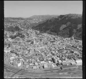 Thorndon, Wellington, area from Parliament Buildings to Grant Road, Kelburn and Northland in background, railway yards and workshops in foreground