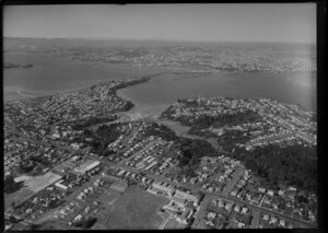 Northcote and Birkenhead looking over the Auckland Harbour Bridge to the city