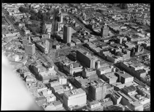 Auckland central looking south-west, includes Queen Street, Town Hall and Greys Avenue