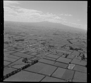 Manaia, surrounding farmland and Mount Taranaki, South Taranaki District