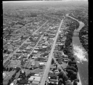 Hamilton, including Waikato River and city buildings