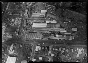 Penrose, Auckland, featuring factories of New Zealand Forest Products Ltd
