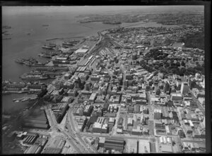Queen Street and wharves, Auckland