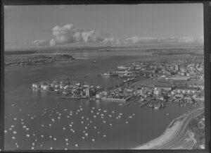 Auckland, waterfront including wharves, ships, and tankfarm