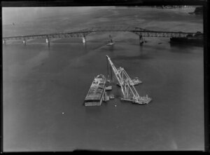 Barge and cranes used in the construction of Auckland Harbour Bridge extensions