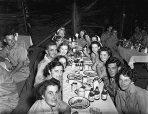 Womens Army Auxiliary Corps personnel attending a New Year's Eve dinner at a New Zealand General Hospital in New Caledonia
