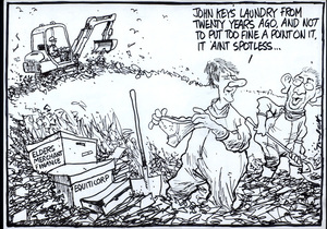 """""""John Key's laundry from twenty years ago, and not to put too fine a point on it, it ain't spotless..."""" 'Elders Merchant Finance.' 'Equiticorp.' 31 October, 2008."""